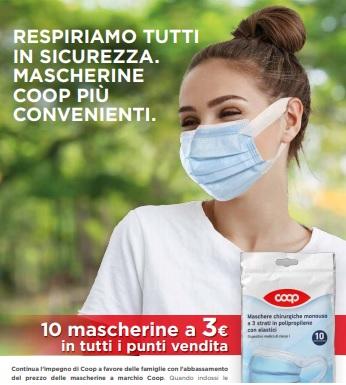 COVID-19, da oggi COOP abbassa il prezzo delle mascherine chirurgiche su tutta la sua rete vendita. 10 mascherine a marchio Coop a 3 euro (30 centesimi l'una)