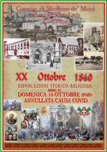 Magliano de' Marsi, il tradizionale appuntamento con la Rievocazione storico-religioso del XX ottobre 1860 annullata causa Covid