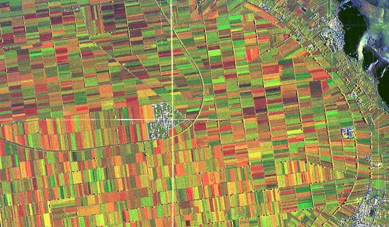 La Piana del Fucino vista da un radar satellitare