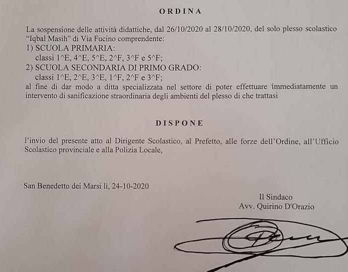 Sospensione delle attività didattiche a San Benedetto dei Marsi per sanificazione
