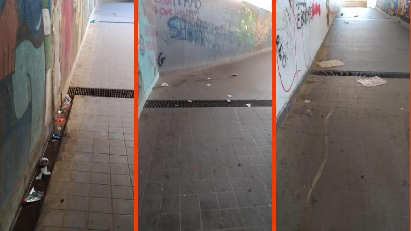 """Tagliacozzo, zozzoni all'opera. Giovagnorio: """"Qualche persona incivile e maleducata continua a sporcare il sottopasso che collega il quartiere della giorgina al centro della città"""""""