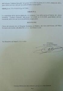 San Benedetto dei Marsi, sospese le attività didattiche della scuola di infanzia