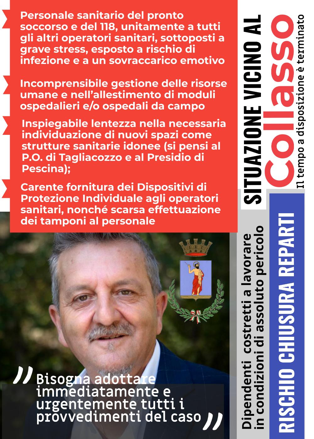 Emergenza Covid-19: Di Pangrazio denuncia situazione al collasso e si appella al governatore della regione Abruzzo, Marco Marsilio