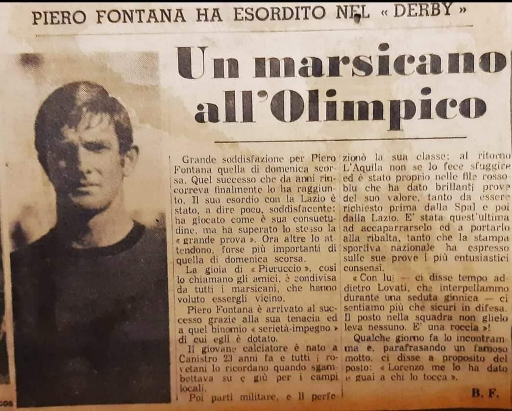 É morto il marsicano Piero Fontana, ex calciatore della Lazio