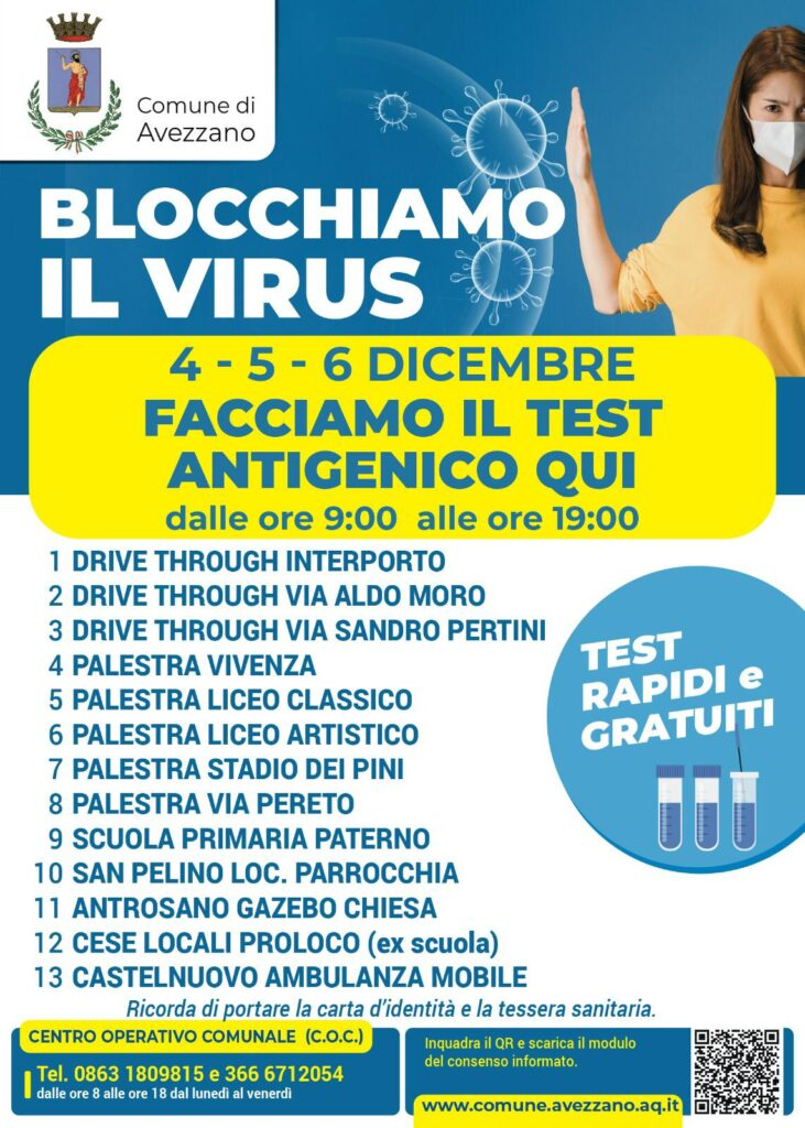 Al via ad Avezzano lo screening di massa con test antigenico