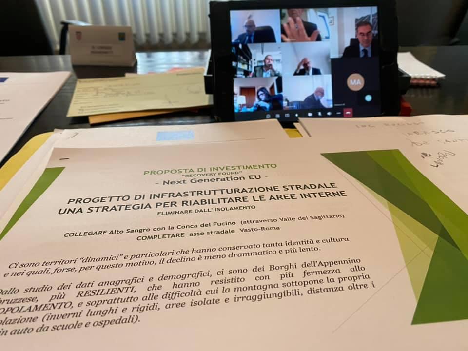Il Presidente dell'Uncem Regionale Berardinetti in videoconferenza con l'Anas per discutere del progetto di infrastrutturazione stradale delle aree interne