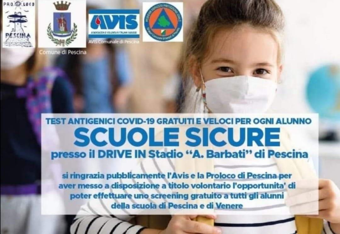 """Campagna screening per gli alunni delle scuole di Pescina e di Venere, il Sindaco Zauri: """"tutto è andato per il verso giusto"""""""