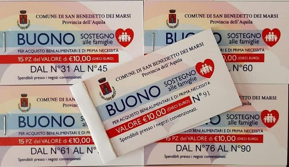 San Benedetto dei Marsi, domani la seconda consegna dei buoni spesa