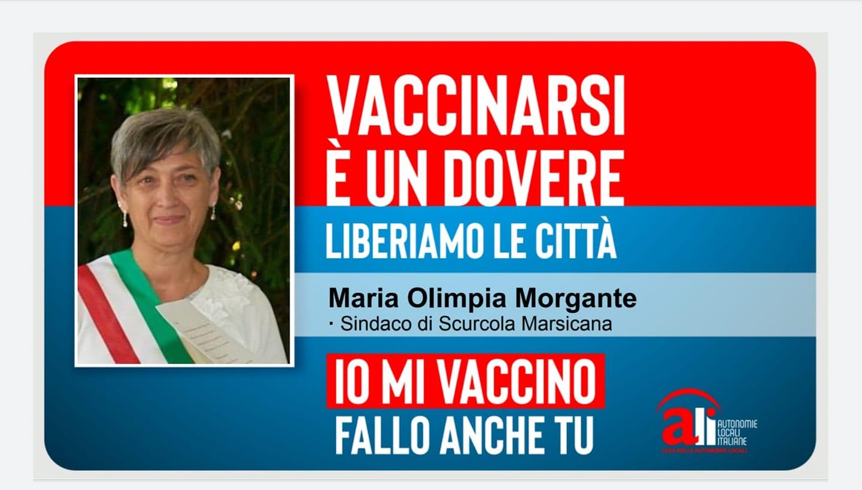 Il Sindaco di Scurcola Marsicana Morgante aderisce alla campagna Ali per sensibilizzare i cittadini alla vaccinazione anti-covid