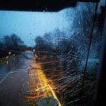 Albero si abbatte su camion porchetta, paura per i passeggeri
