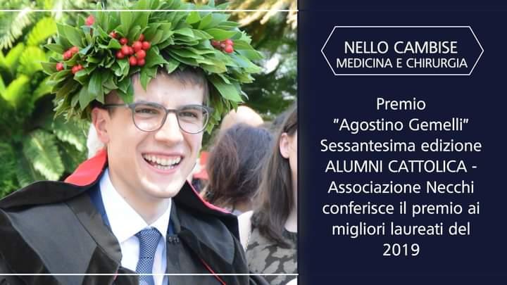 """Il trasaccano Nello Cambise ha ricevuto il premio """"Agostino Gemelli"""" come miglior laureato 2019 in medicina"""