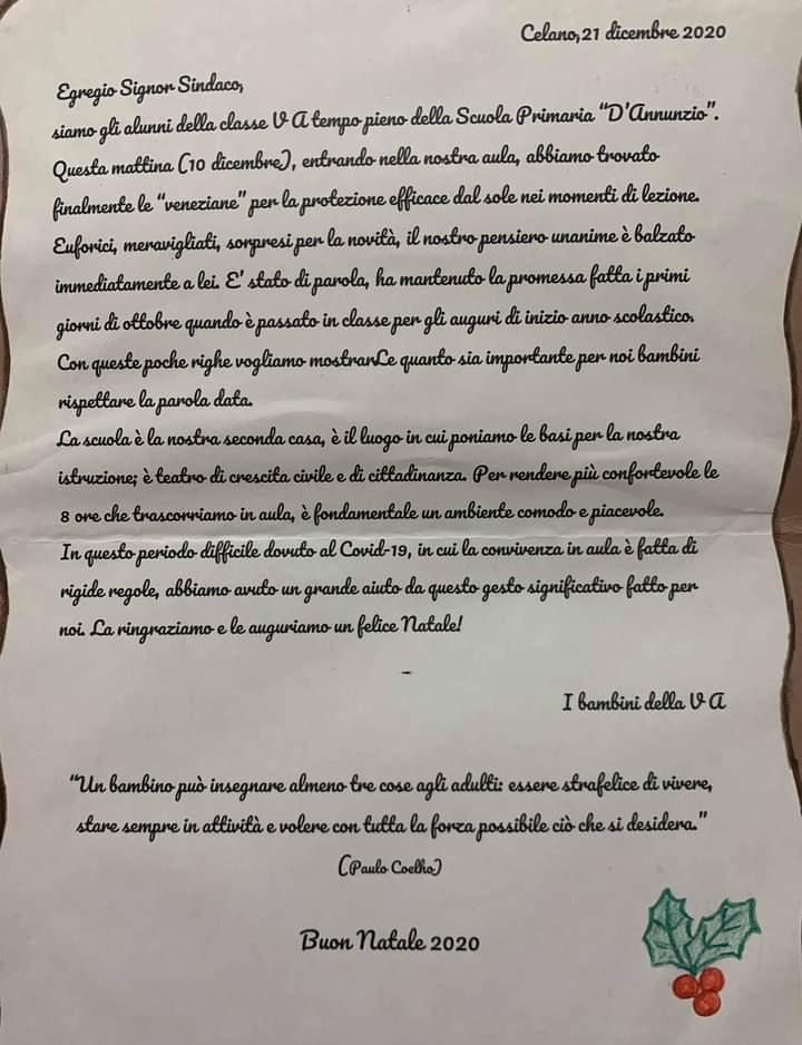 """I bambini della V^ A della scuola primaria """"D'Annunzio"""" di Celano inviano una letterina di ringraziamento al sindaco Santilli per l'installazione delle veneziane in classe"""
