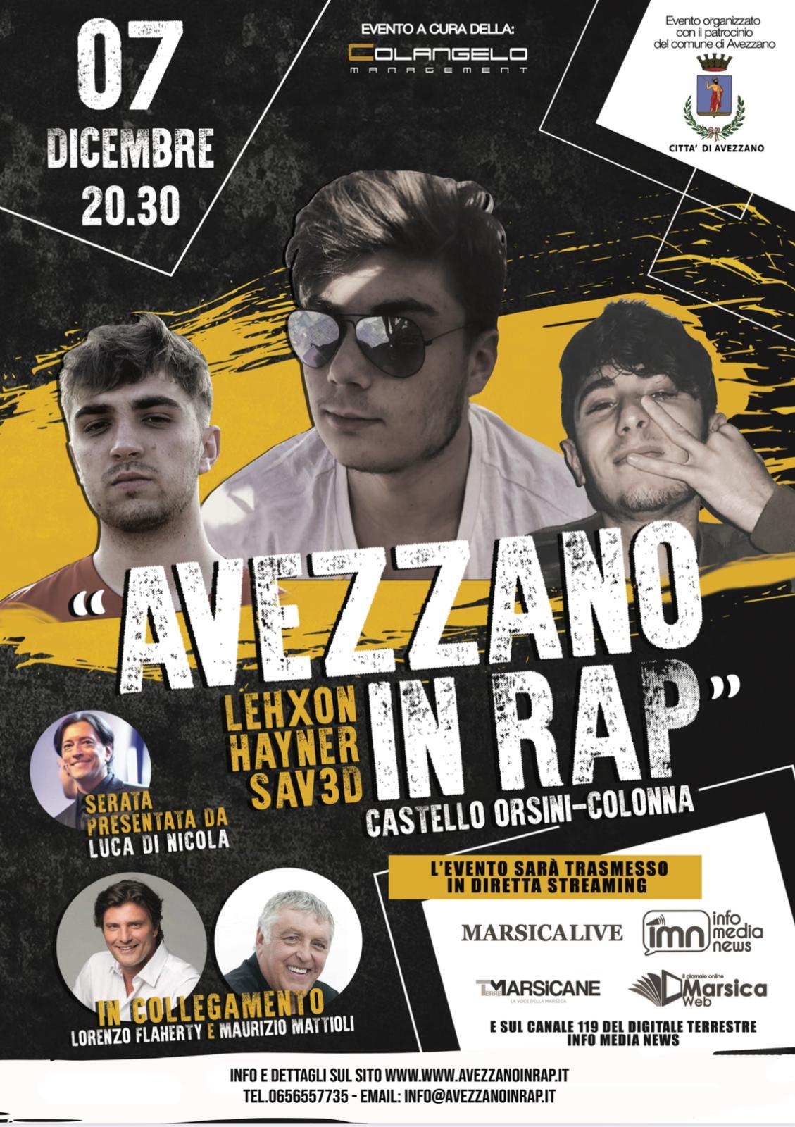 """Al via """"Avezzano in Rap"""" in diretta streaming dal Castello Orsini"""
