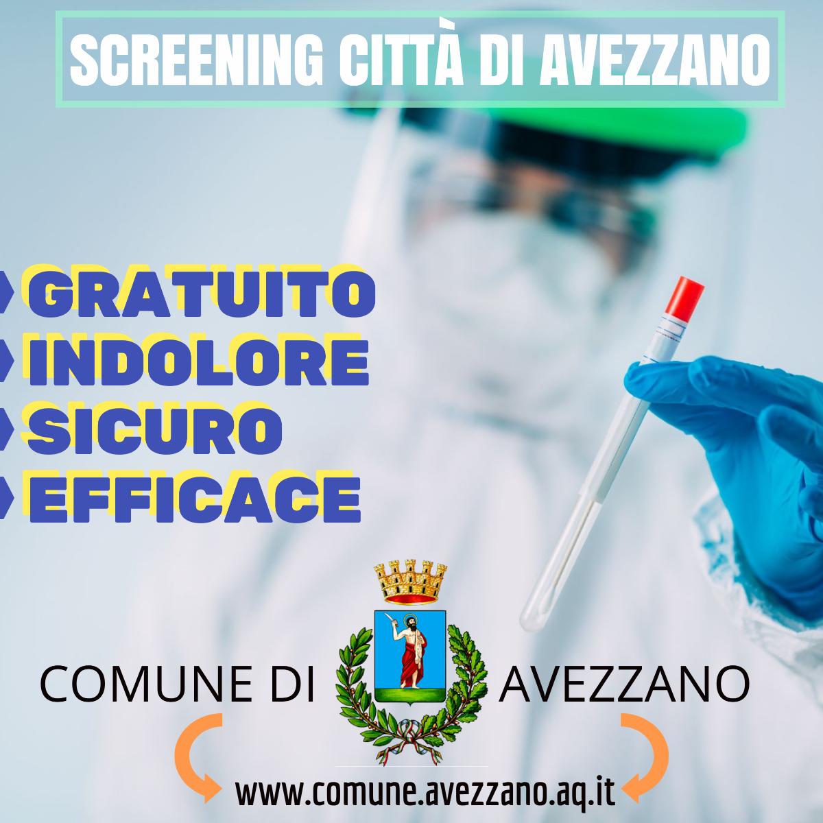 Prosegue per altri due giorni l'attività di screening per il comune di Avezzano