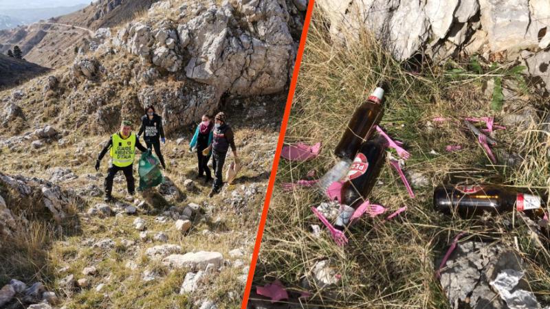 Party alcolico ai piedi del Sirente, le Guardie Ambientali d'Italia Sezione Marsica ripuliscono la zona