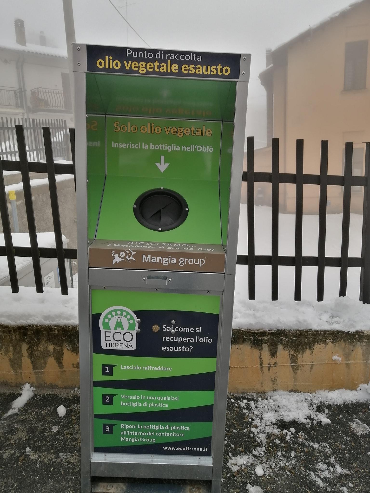 Installati due contenitori per la raccolta degli oli vegetali esausti ad Aielli