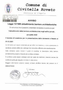 Civitella Roveto, pubblicato l'avviso per l'abbattimento delle barriere architettoniche negli edifici privati