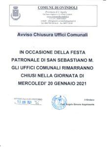 Festa patronale di San Sebastiano a Ovindoli, domani uffici comunali chiusi