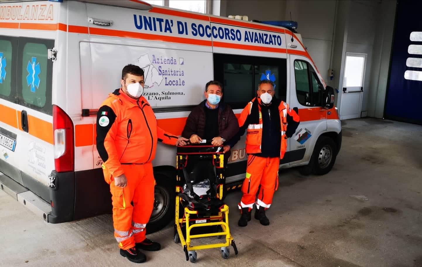 Servizio 118 Avezzano, una nuova sedia sali/scendi scale motorizzata donata dalla Fondazione Carispaq e dalla Croce Verde di Civitella Roveto