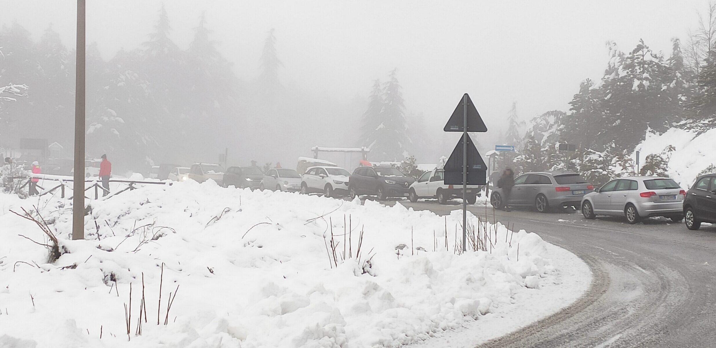 Palle di neve, pupazzi e slittini: in tantissimi sul Salviano innevato
