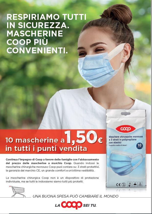 Ulteriore ribasso del prezzo delle mascherine chirurgiche nei punti vendita Coop e superconti
