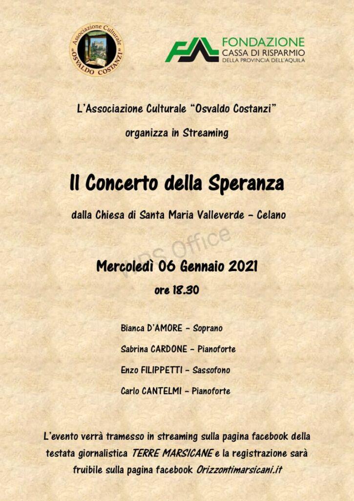 """Da Celano """"Il concerto della speranza"""" presentato dall'associazione culturale """"Osvaldo Costanzi"""""""