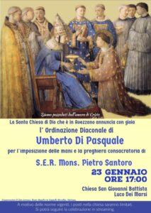 Mons. Pietro Santoro ordinerà diacono Umberto Di Pasquale