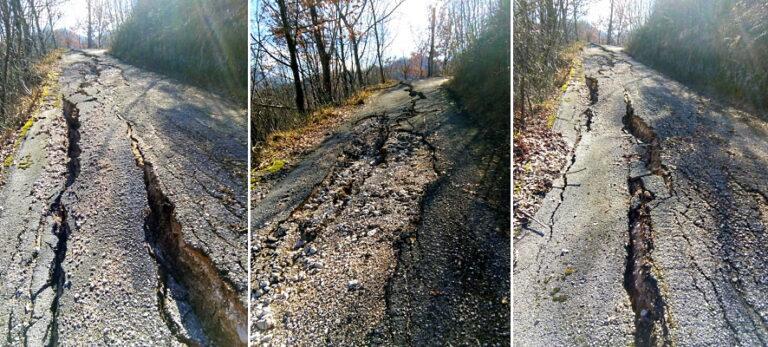 Gravemente lesionata la strada che da Civitella Roveto conduce a contrada Forcella