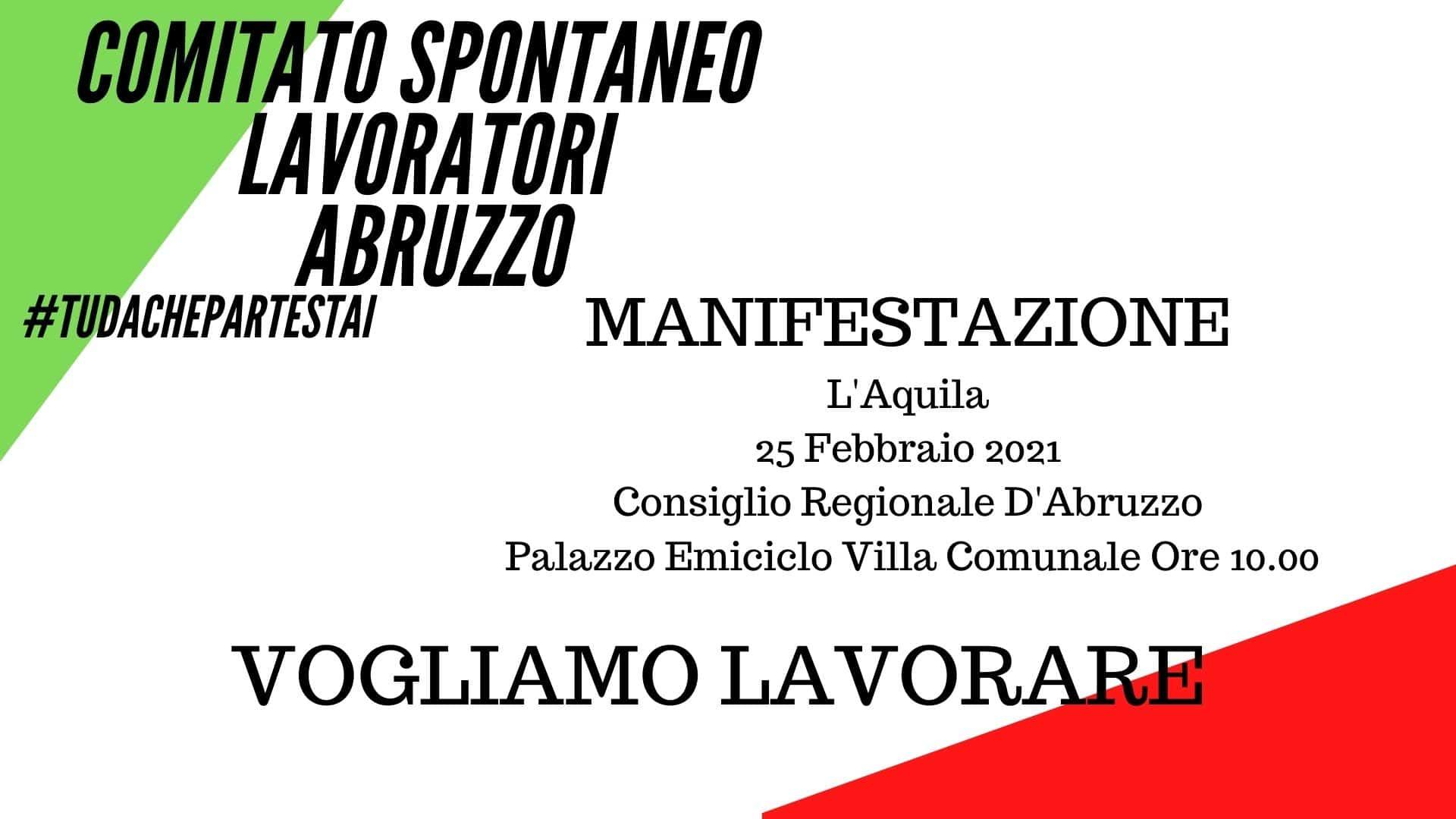 Comitato Spontaneo Lavoratori Abruzzo, domani a L'Aquila manifestazione di protesta contro la Regione Abruzzo