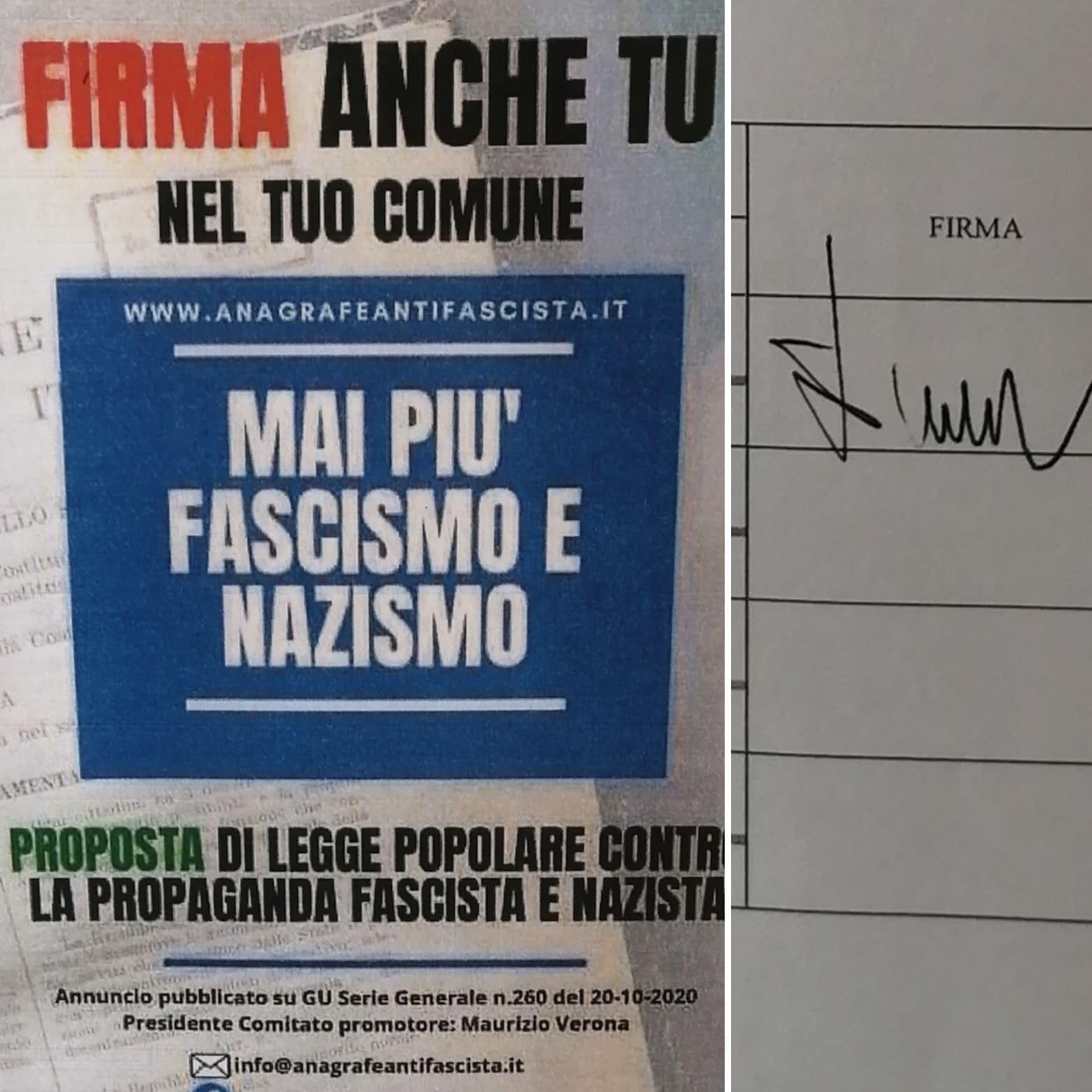 Il Comune di Aielli aderisce alla raccolta firme per la legge di iniziativa popolare contro la propaganda fascista e nazista