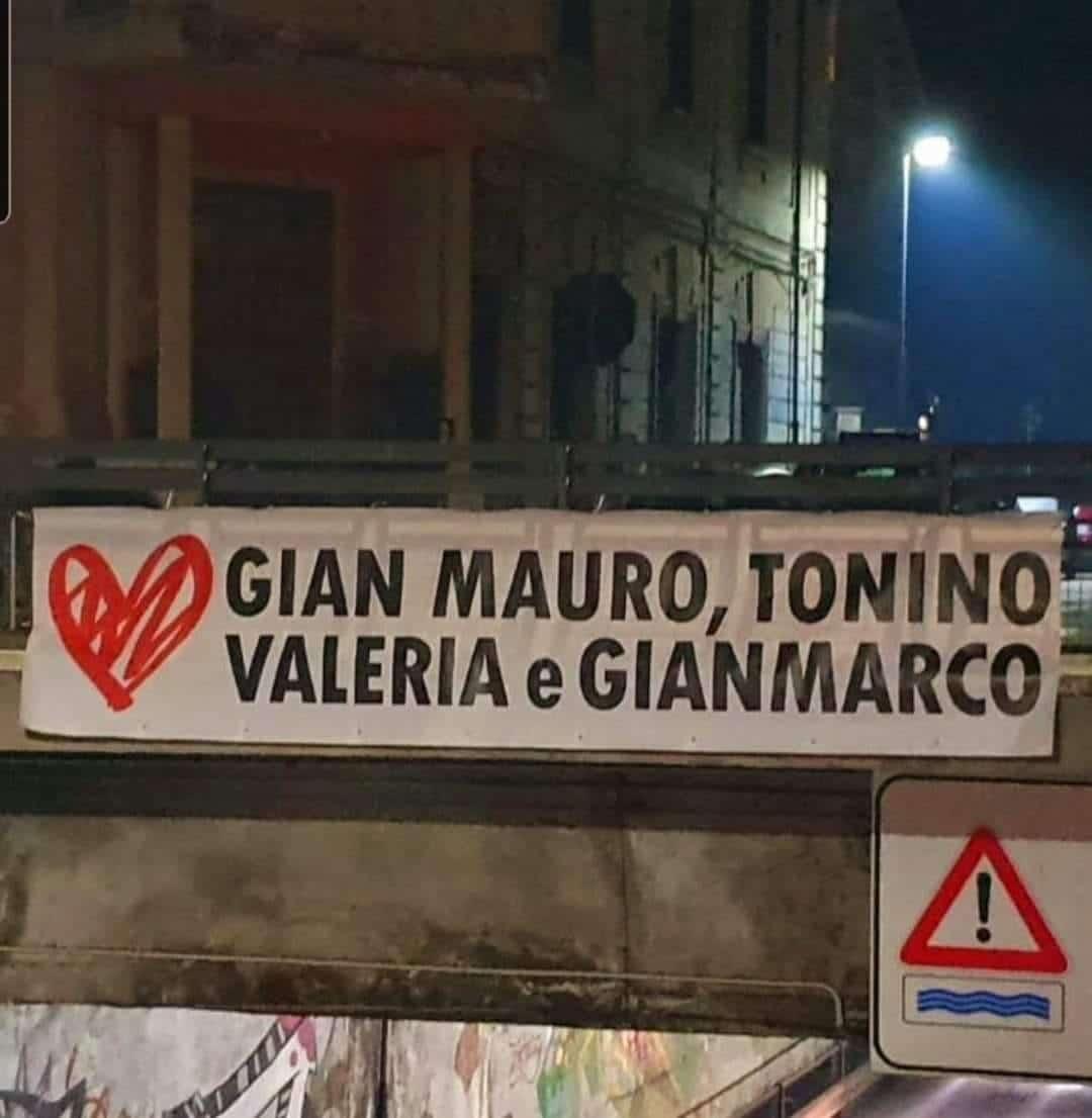 Avezzano, spunta lo striscione per Tonino, Gian Mauro, Gianmarco e Valeria