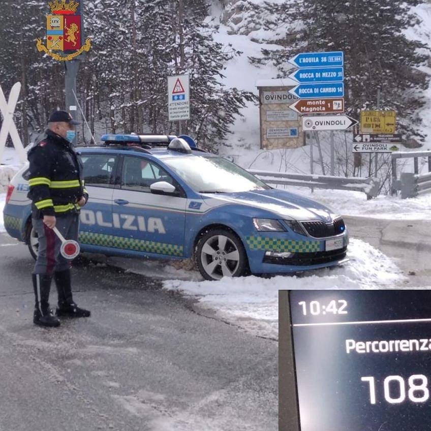 Burian, garantita la sicurezza della viabilità dalla Polizia Stradale di L'Aquila. Il Comune di Ovindoli ringrazia