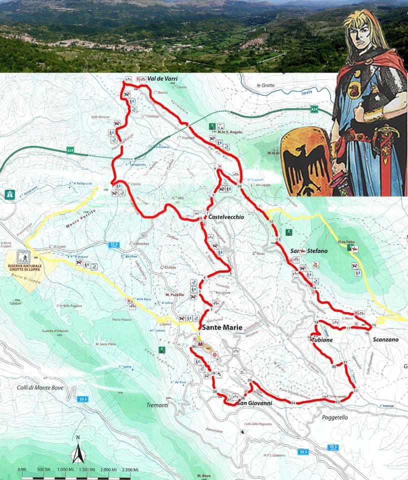 Sante Marie, lo storico sentiero Corradino tracciato con le frecce della segnaletica