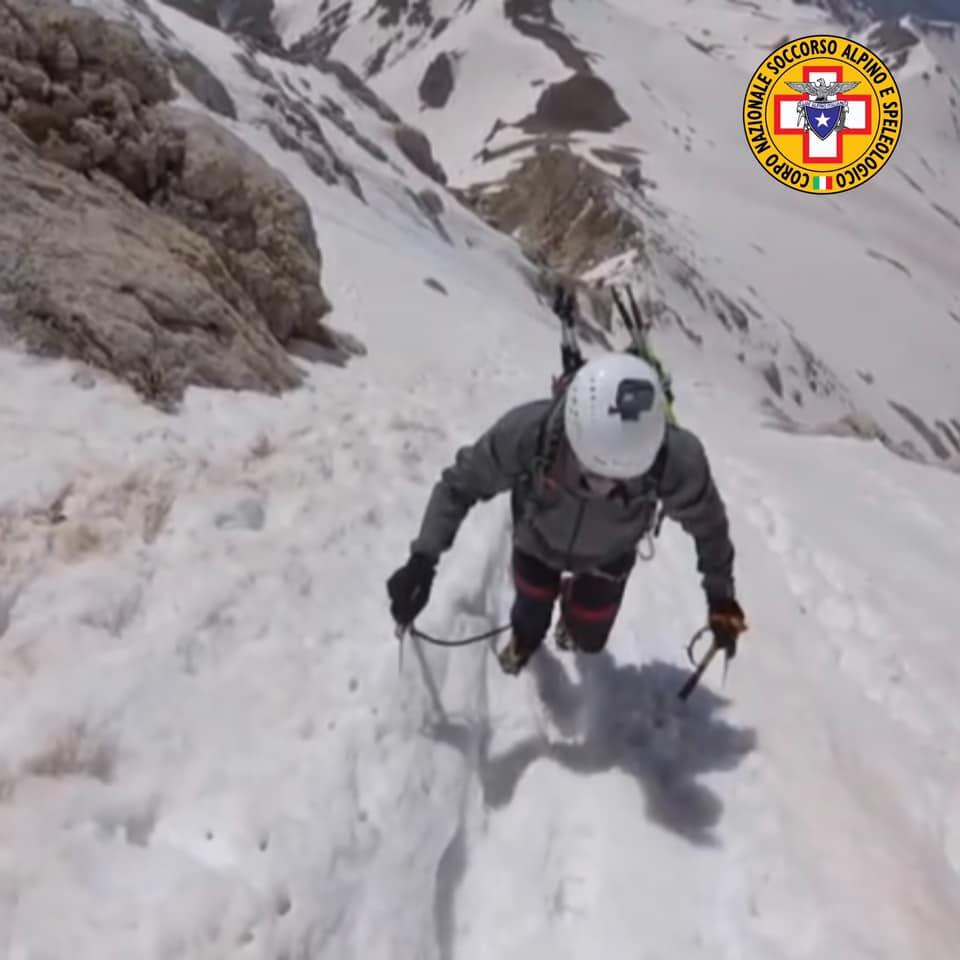 Alpinista bloccato lungo la direttissima sul Gran Sasso a quota 2.800 metri