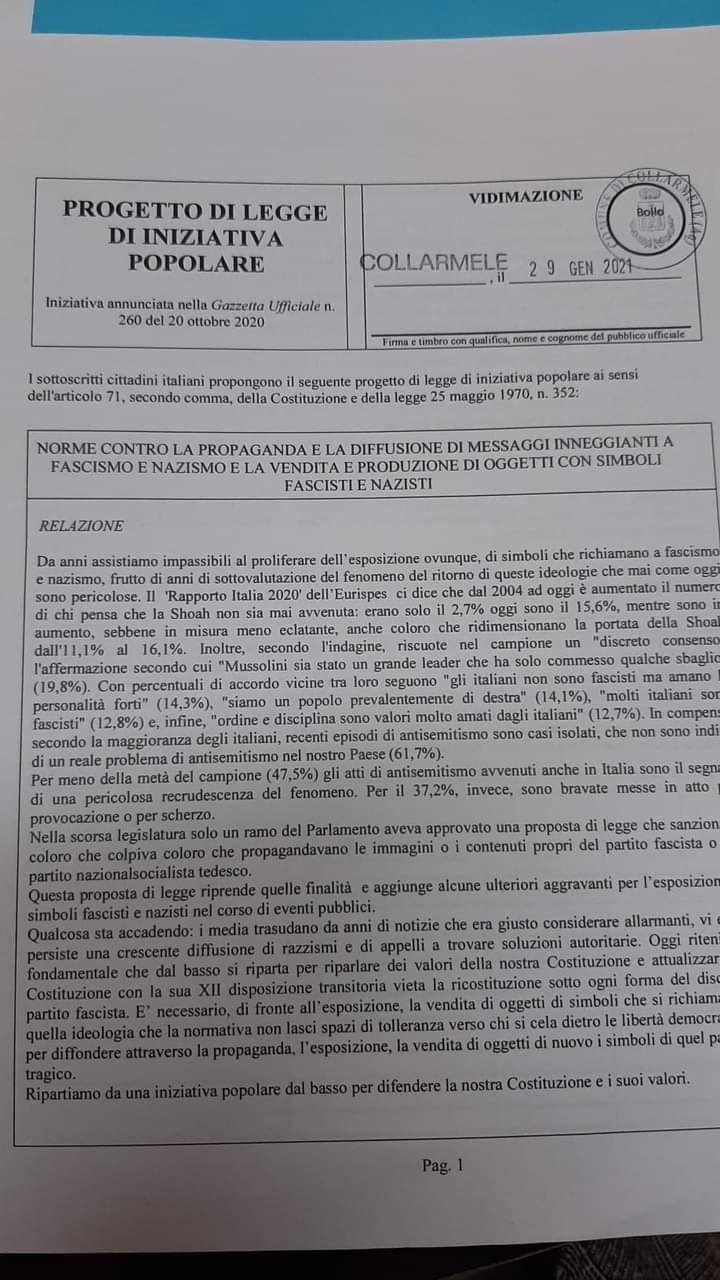 Il comune di Collarmele aderisce all'iniziativa popolare sulle norme contro la propaganda nazista e fascista