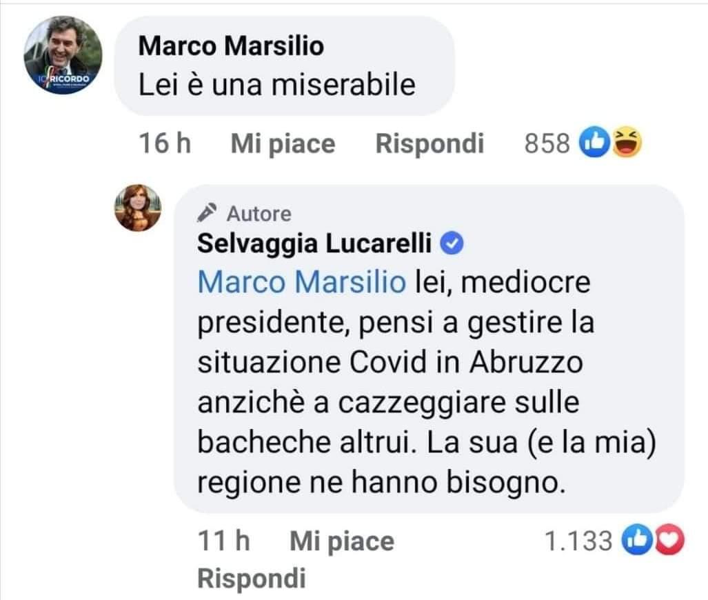 """Il """"dissing"""" tra Marco Marsilio e Selvaggia Lucarelli"""
