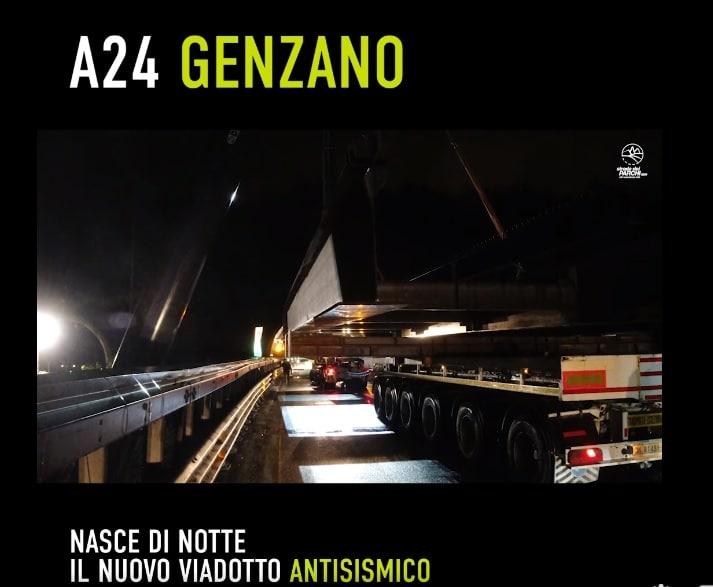 A24, lo spettacolare video in notturna del viadotto che resiste ai terremoti