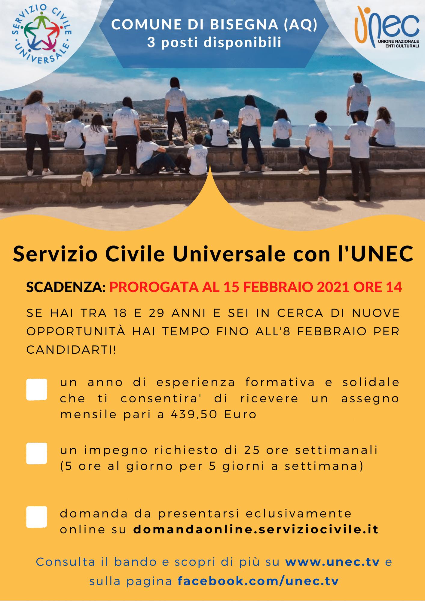 Servizio Civile con UNEC. Due i progetti attivi presso il comune di Bisegna
