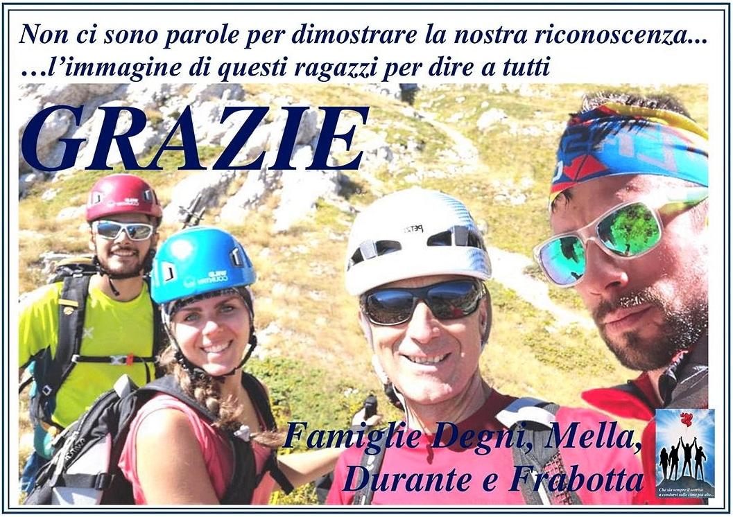 Le famiglie di Gianmarco, Valeria Tonino e Gian Mauro ringraziano i soccorritori