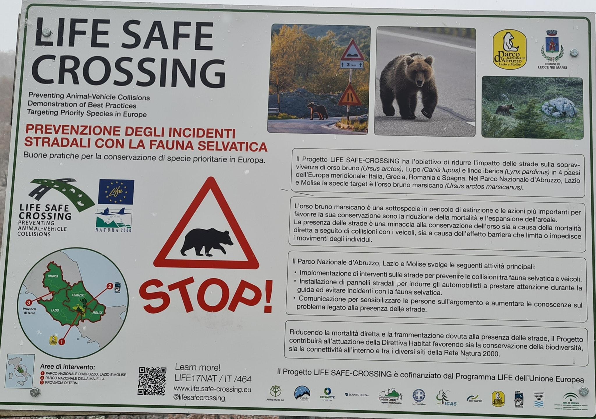 Segnaletica del progetto Life Safe Crossing installata a Lecce nei Marsi