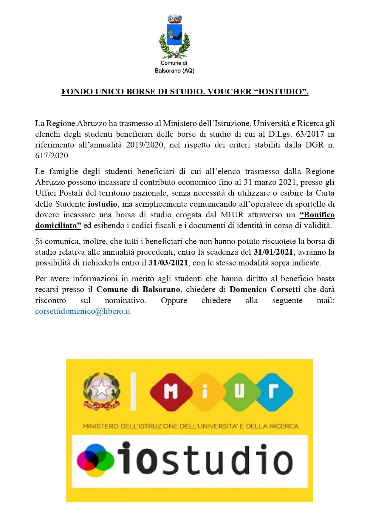 """Avviso del Comune di Balsorano: disponibili gli elenchi degli studenti beneficiari del Voucher """"Iostudio"""""""