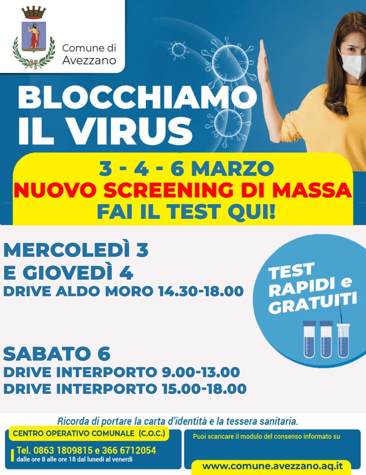 """Nuovo screening gratuito ad Avezzano: """"Blocchiamo il virus"""""""