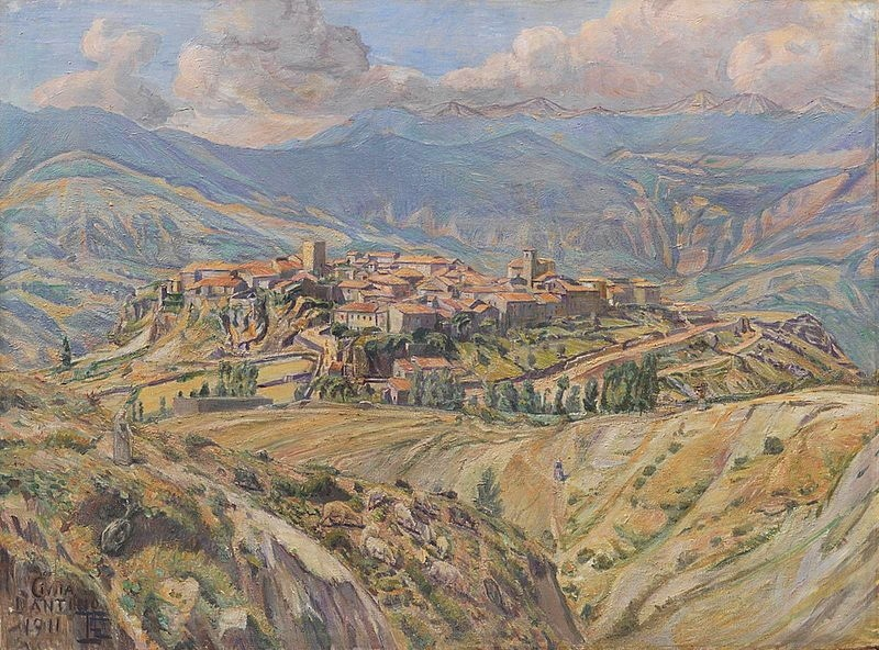 Civita d'Antino in uno splendido dipinto del 1911 del pittore danese Poul S. Christiansen