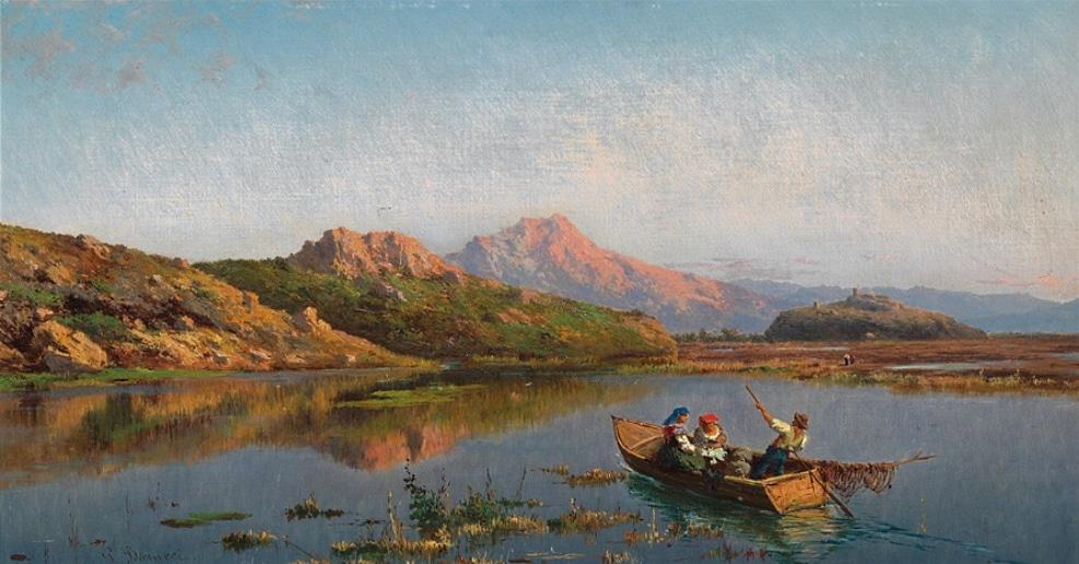 Vista del Lago del Fucino, dipinto di fine Ottocento di Pietro Barucci