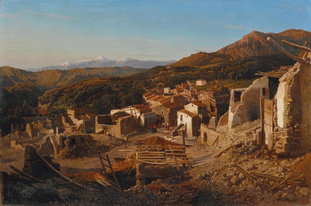 Veduta di San Sebastiano dei Marsi, dipinto del 1859 di Alessandro La Volpe