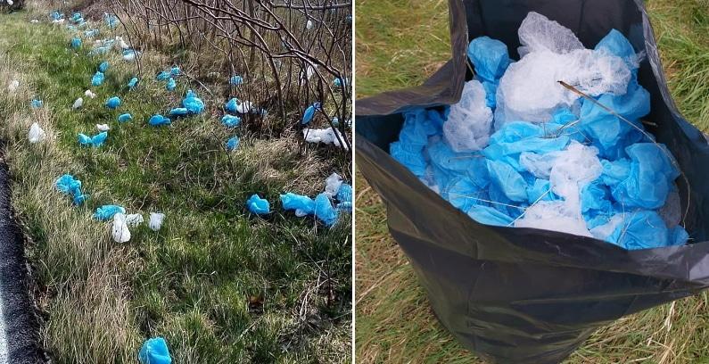Recuperati calzari e cuffie di plastica gettati lungo una strada di Collarmele