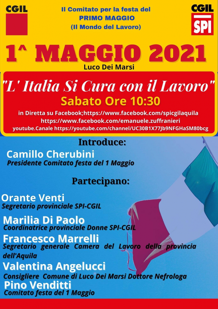 """1° Maggio a Luco dei Marsi con la piazza virtuale """"L'Italia Si Cura con il lavoro"""""""
