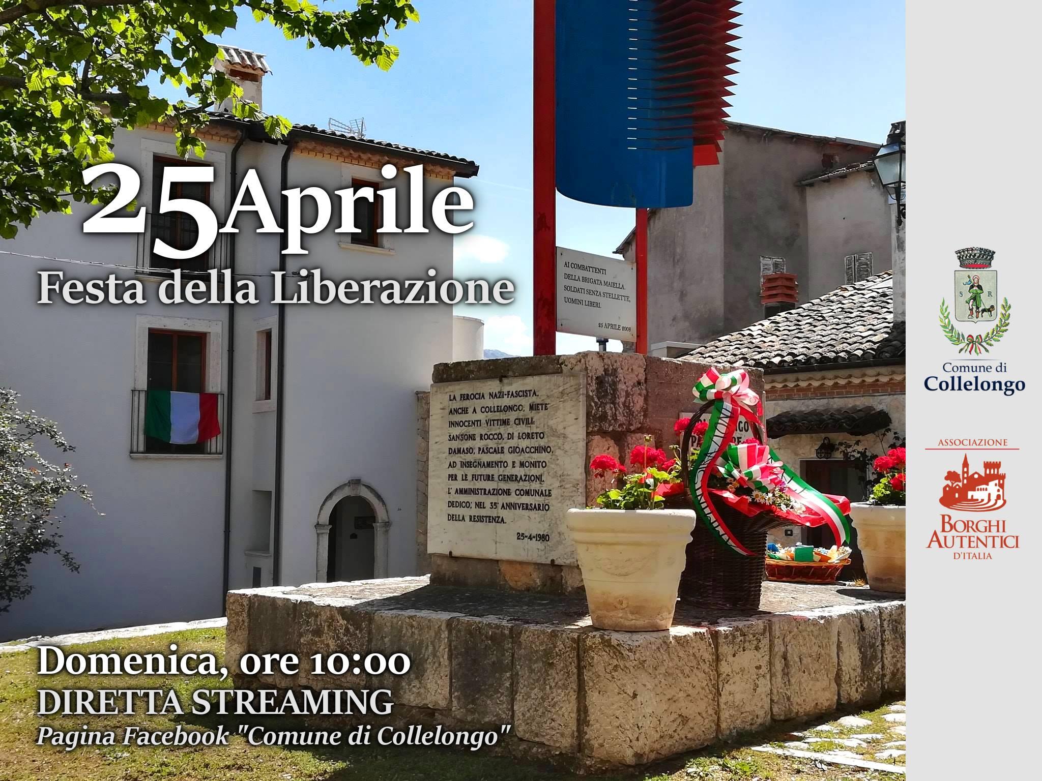 Festa del 25 Aprile, il Comune di Collelongo in diretta streaming sulla sua pagina Facebook