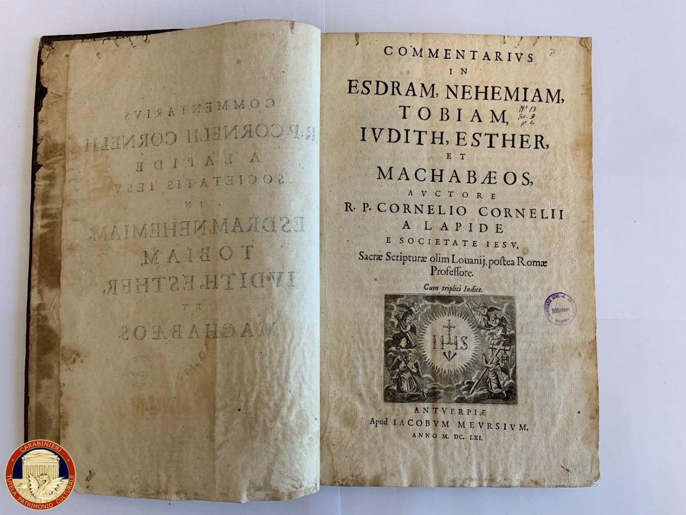 Carabinieri per la Tutela del Patrimonio Culturale restituiscono libro del 1661