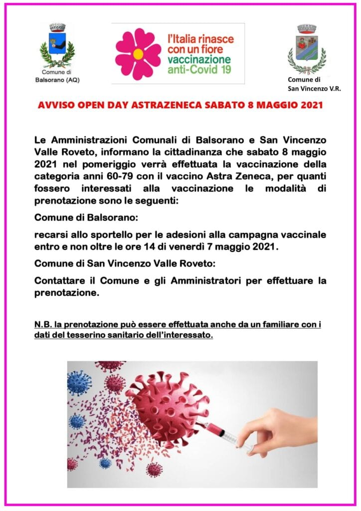 Open Day Astra Zeneca sabato 8 maggio a Balsorano e a San Vincenzo Valle Roveto